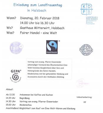 Landfrauentag Halsbach 20.02.2018
